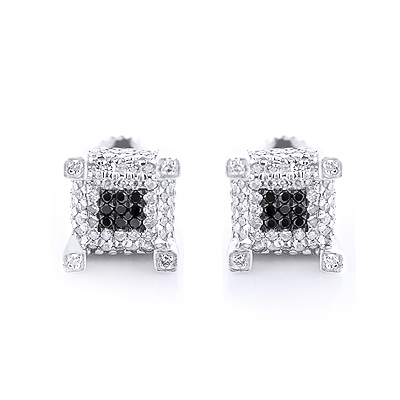 White Black Diamond Earrings Studs 0.61ct Sterling Silver