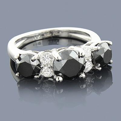 White Black Diamond Engagement Ring 2.70ct