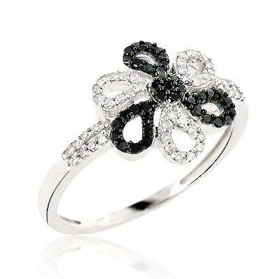 White Black Diamond Flower Ring 0.31ct 14K Gold