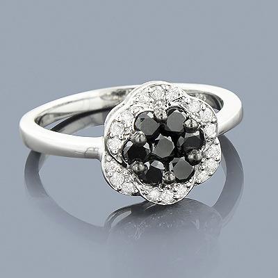 White Black Diamond Flower Ring 0.62ct 14K