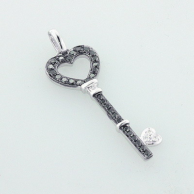 White Black Diamond Key Pendant 14K 0.56ct