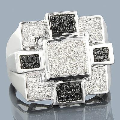 White Black Diamond Mens Ring 10K 0.58ct