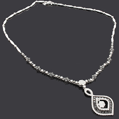 White Black Diamond Necklace 14K 4.31ct