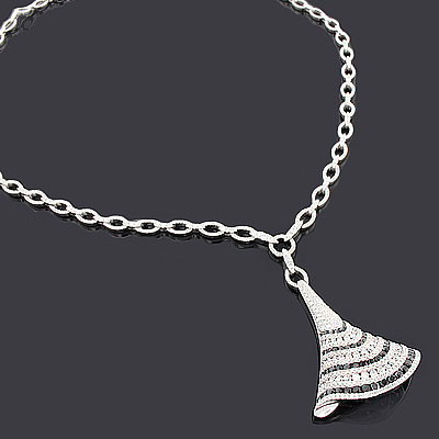 White Black Diamond Necklace 14K 4.41ct