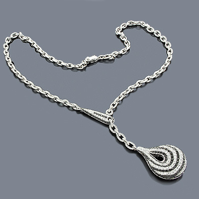 White Black Diamond Necklace Teardrop 4.28ct