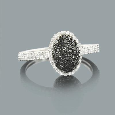 White Black Diamond Pre Engagement Ring 0.43ct 14K Gold