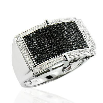 White Black Diamond Ring for Men in Sterling Silver 0.70ct