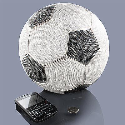 White Black Diamond Soccer Ball Life-Size 1400ct 14K