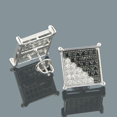 White Black Diamond Stud Earrings 1.11ct 10K Gold