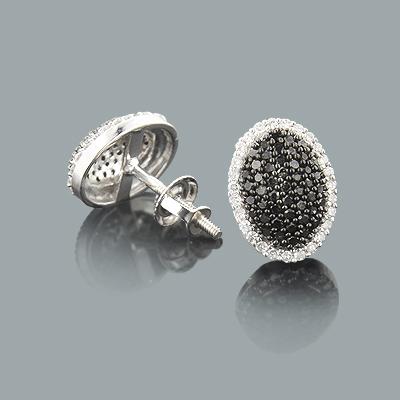 White Black Diamond Stud Earrings Pave Style 0.51ct 14K