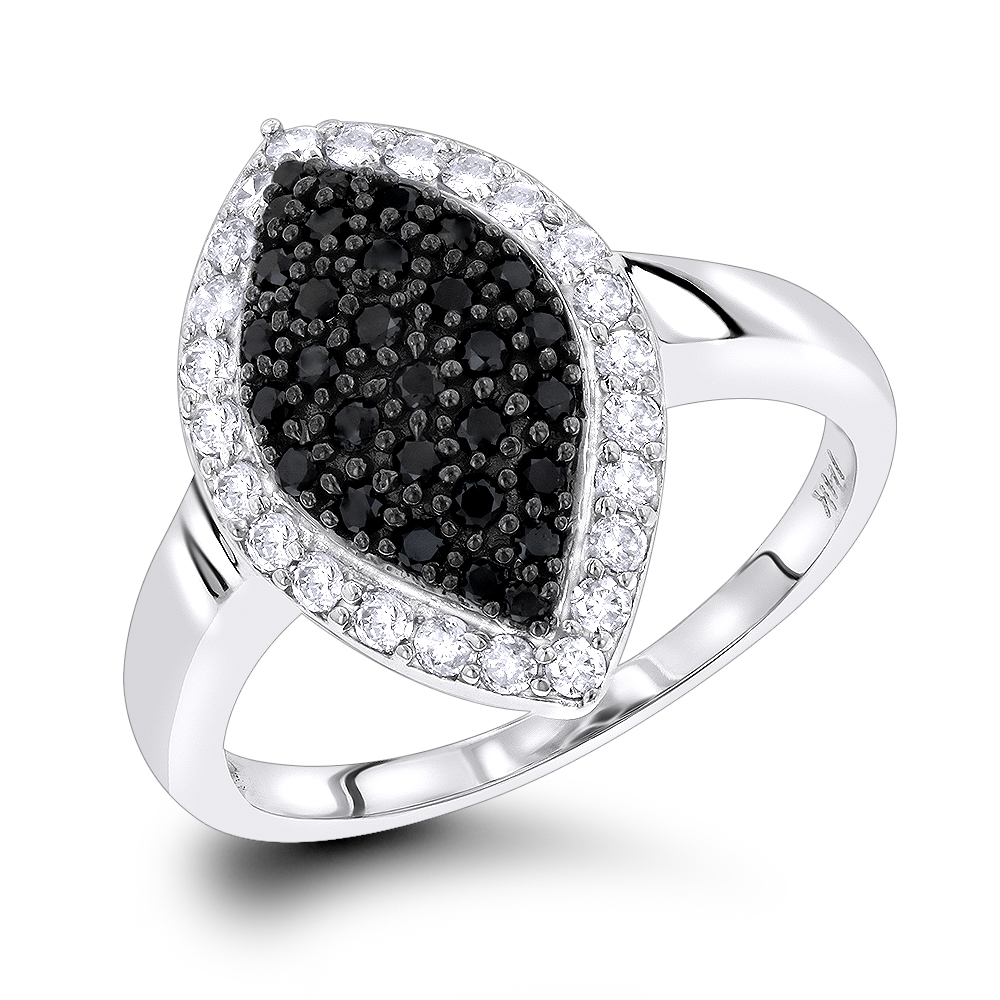 Ladies White Black Pave Diamond Ring 0.7ct 14K Gold