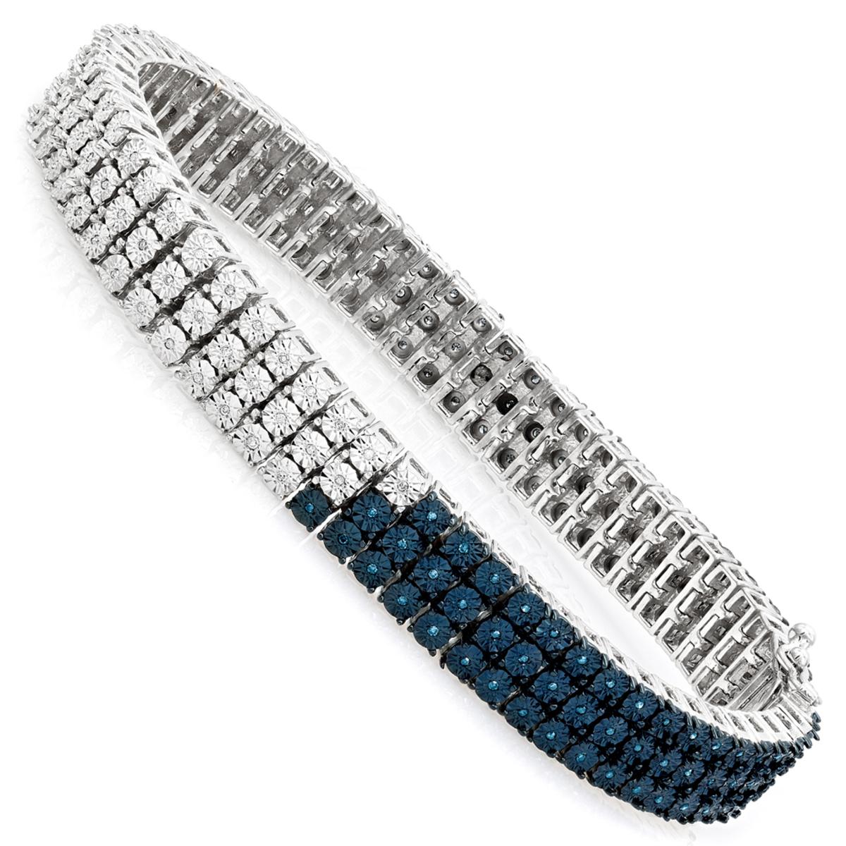 White Blue Diamond Bracelet for Men 0.50ct Sterling Silver