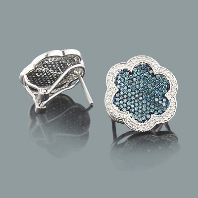 White Blue Diamond Flower Earrings 1.20ct 14K Gold