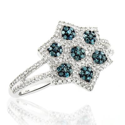 White Blue Diamond Flower Ring 0.47ct 14K Gold