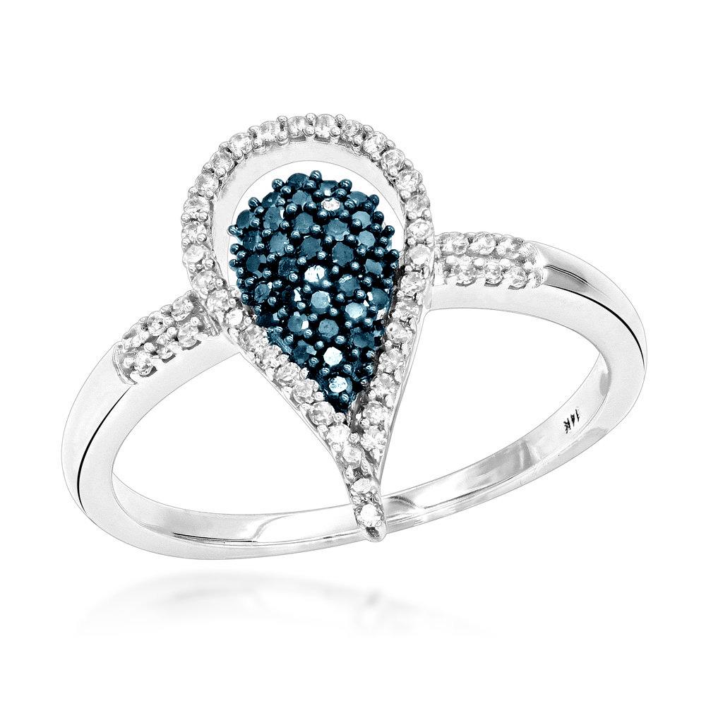 White Blue Diamond Teardrop Ring 0.29ct 14K Gold