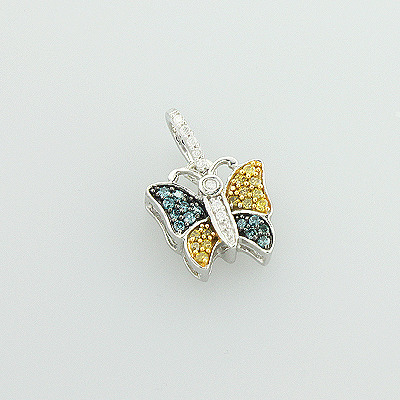 White Blue Yellow Diamond Butterfly Pendant 0.26ct in 10K Gold