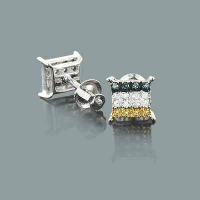 White Blue Yellow Diamond Earrings 0.12ct 10K Gold