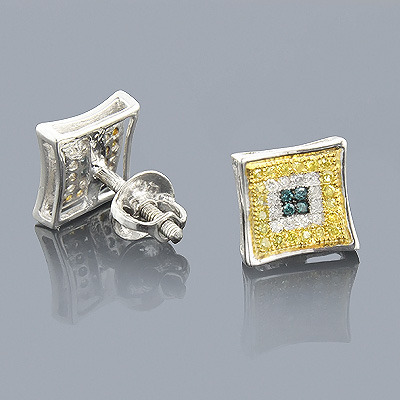 White Blue Yellow Diamond Earrings 0.35 Sterling Silver