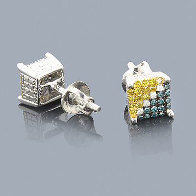 White Blue Yellow Diamond Earrings 0.50 Sterling Silver