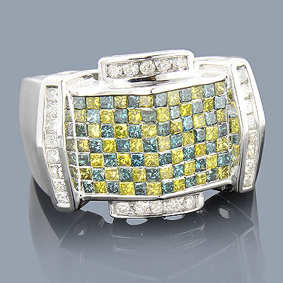 White Blue Yellow Mens Diamond Ring 2.50ct 14K