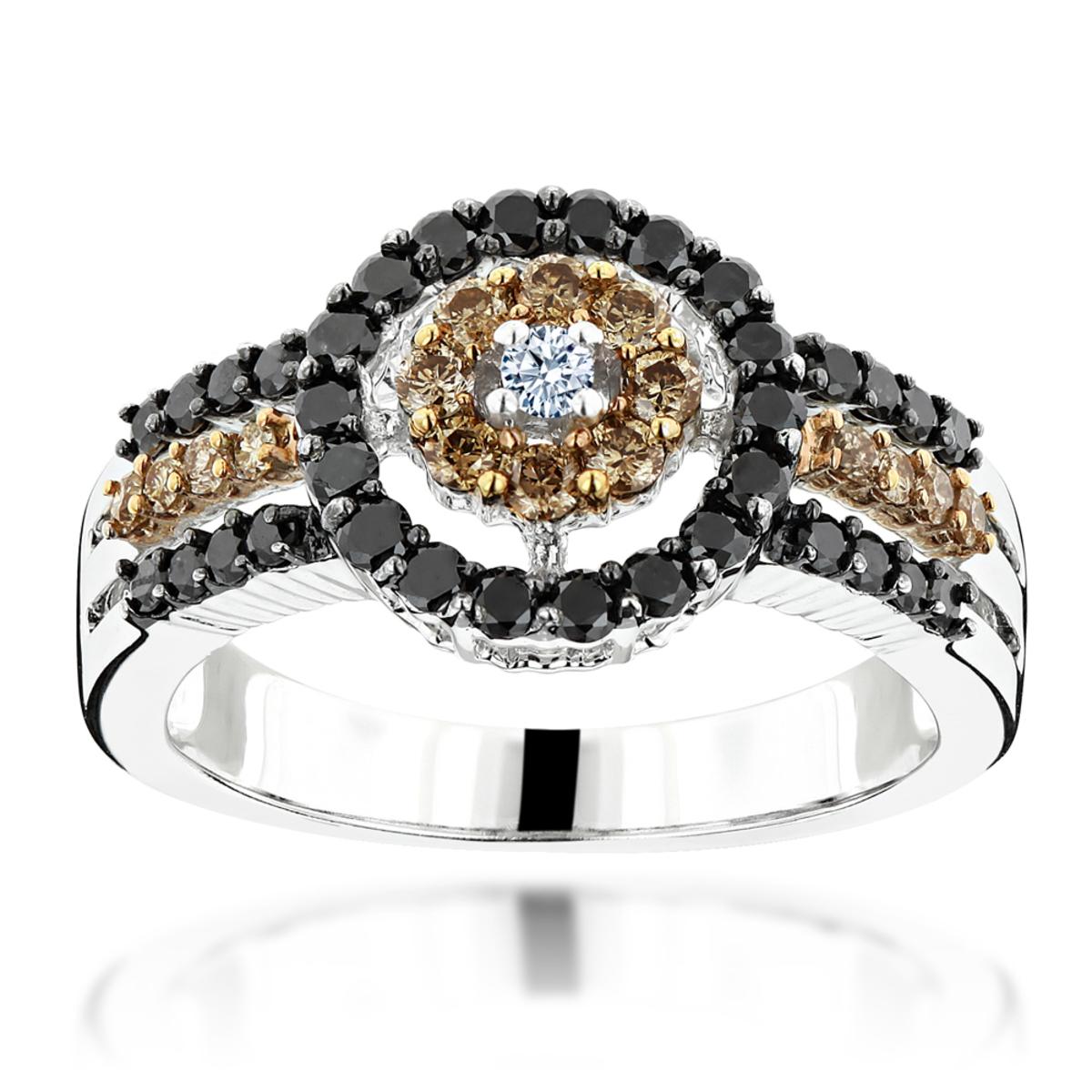 White Brown Black Diamond Ring 0.94ct 14K Gold Womens Jewelry