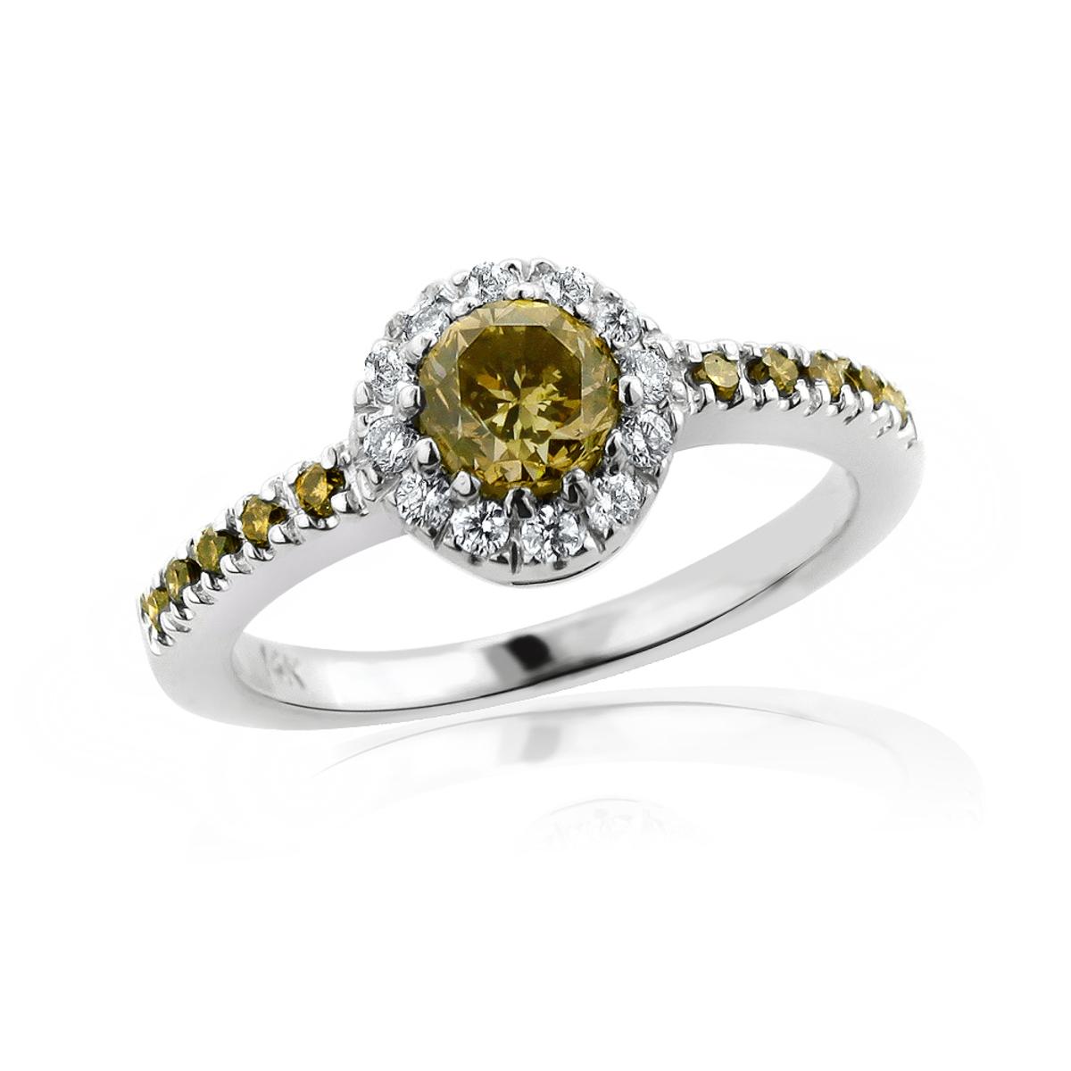 Ultra Thin White Brown Diamond Engagement Ring 14K Gold 0.72ct Halo