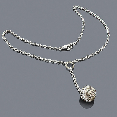 White Champagne Diamond Ball Necklace 4.71 14K