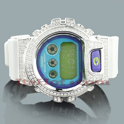 White GShock Watch with White Crystals