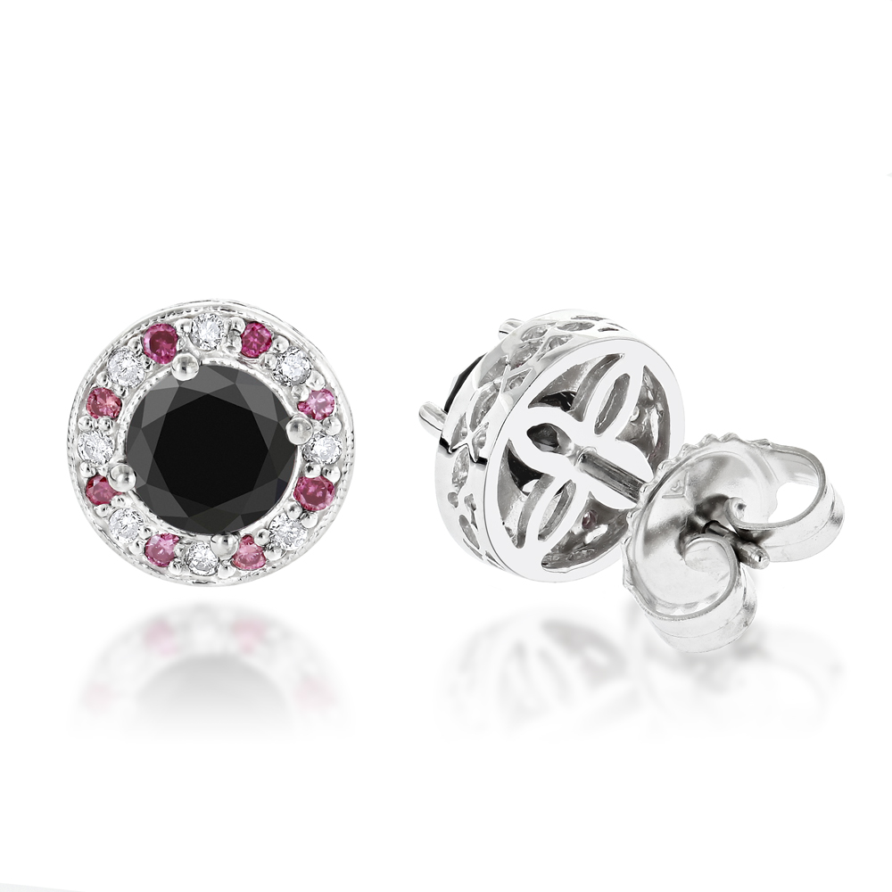 White Pink and Black Diamond Stud Earrings 2.2ct 14K Gold
