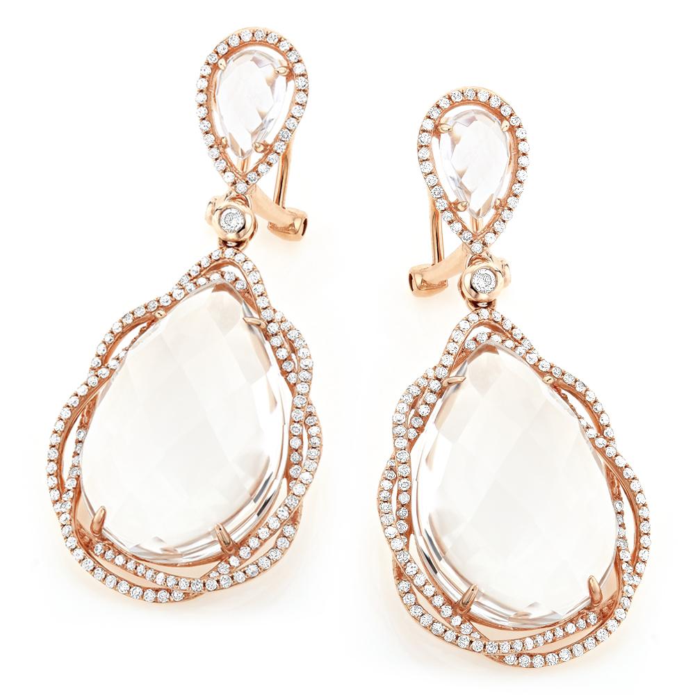 White Quartz Ladies Diamond Drop Earrings 0.95ct 18k Gold