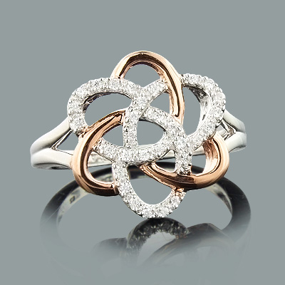 White Rose Gold Flower Ring with Diamonds 0.18ct 14K