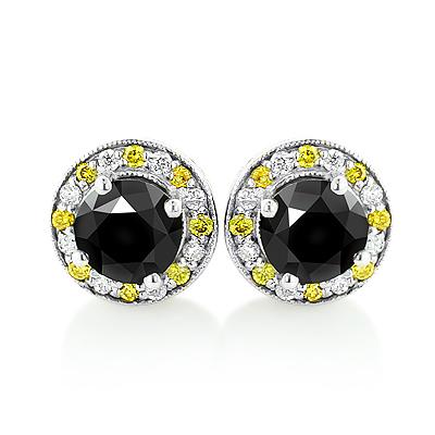 White Yellow and Black Diamond Stud Earrings 2.20ct 14K Gold