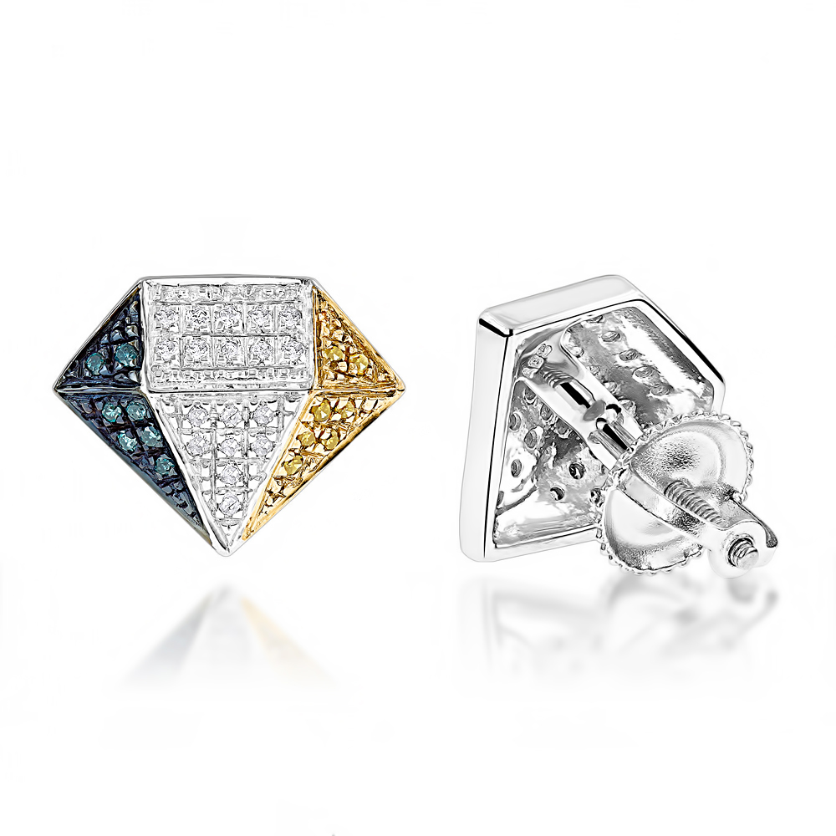 White Yellow Blue Diamond Earrings 0.30ct Silver