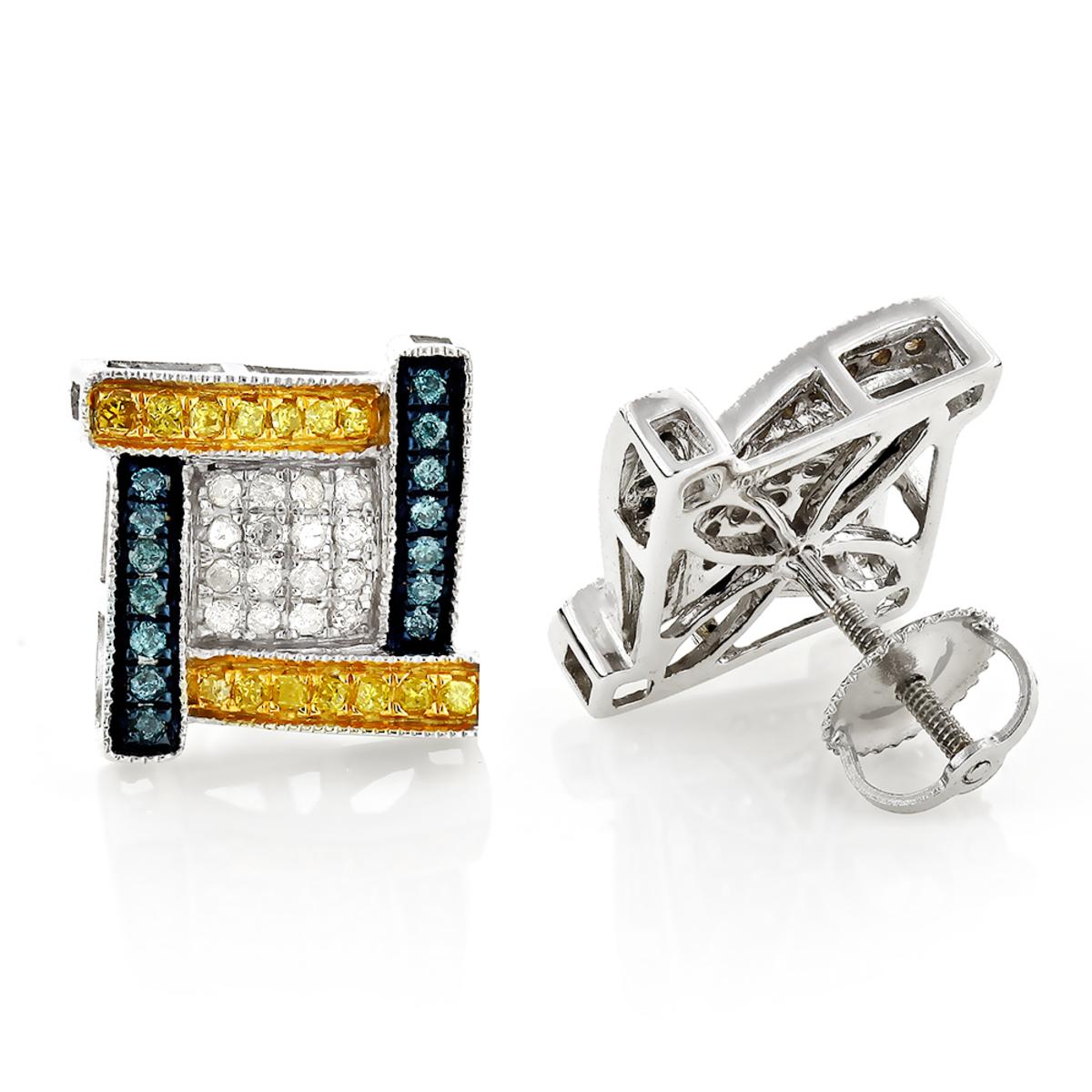 White Yellow Blue Diamond Earrings 0.5ct 10K Gold