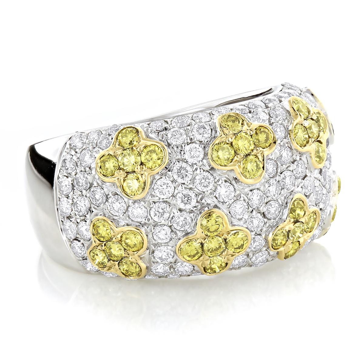 White Yellow Diamond Band 2.59ct 14K