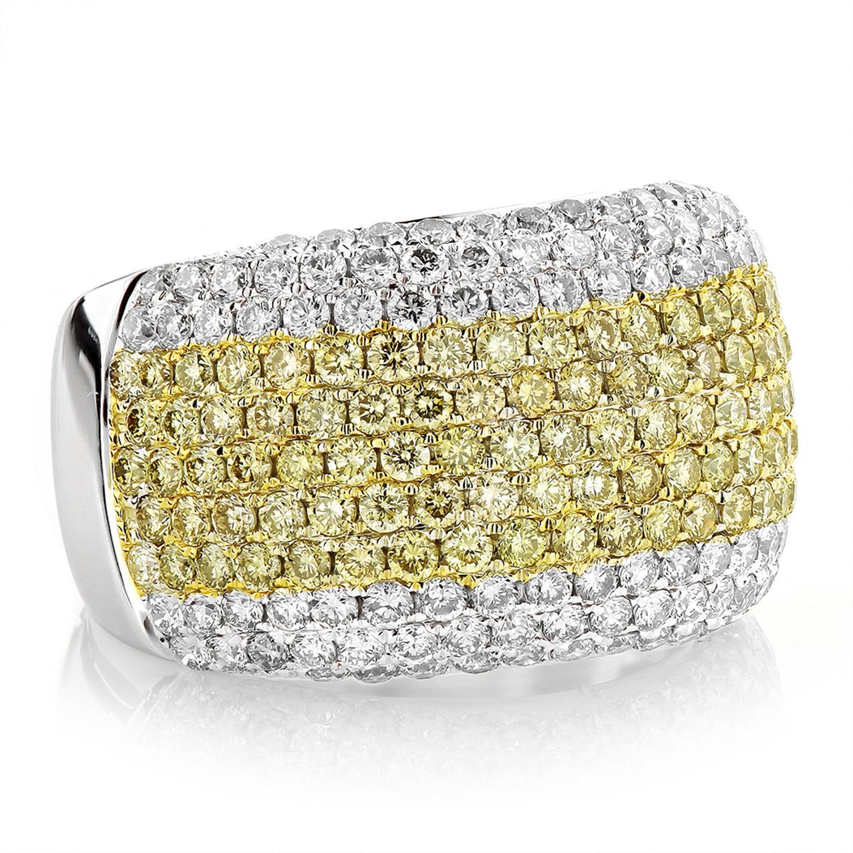 White Yellow Diamond Band 3.35ct 14K