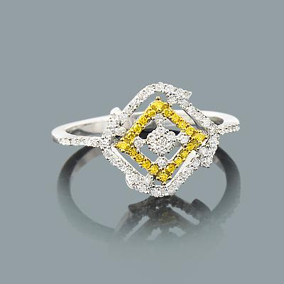 White Yellow Diamond Right Hand Ring 0.30ct 14K Gold