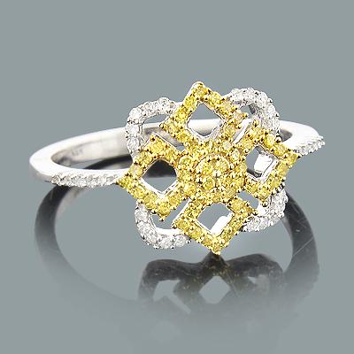 White Yellow Diamond Right Hand Ring 0.30ct 14K