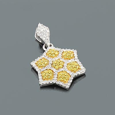 White Yellow Diamond Star Pendant 0.40ct 14K Gold