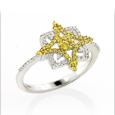 White Yellow Diamond Star Ring 0.31ct 14K Gold