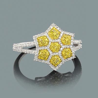 White Yellow Diamond Star Ring 0.47ct 14K Gold