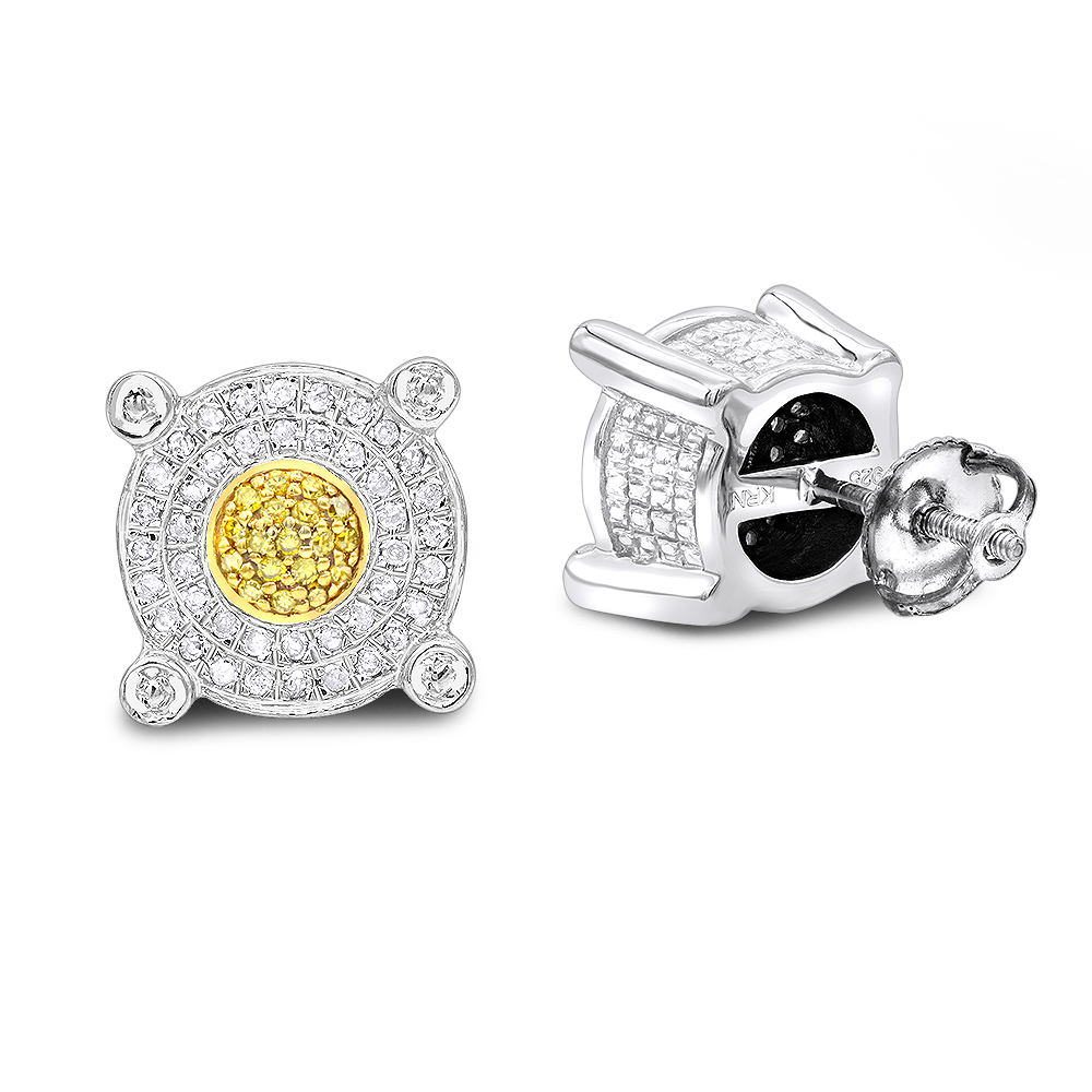 White Yellow Diamond Stud Earrings 0.33ct Sterling Silver