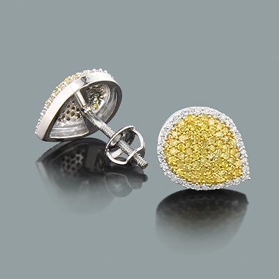 White Yellow Diamond Teardrop Earrings 0.59ct 14K Gold