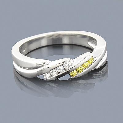 Thin White Yellow Diamond Wedding Band 0.12ct 14K