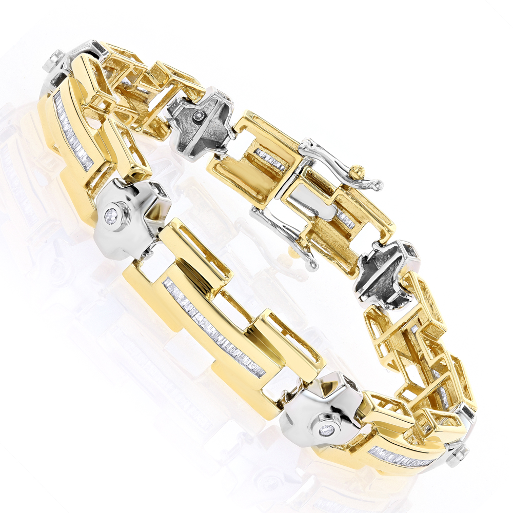 White-Yellow Gold Diamond Men's Bracelet 1.95ct