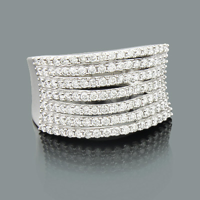 Wide Designer Diamond Ring for Women 1.15ct 10K Gold