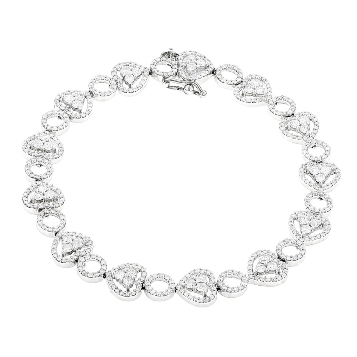 Womens 14K Gold Designer Diamond Heart Bracelet 4.35ct