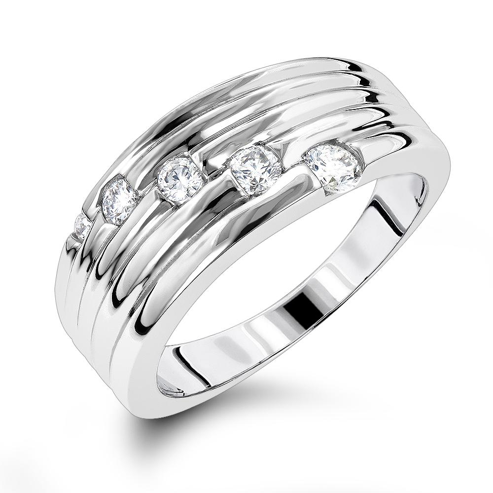 Womens 14K Gold Round Diamond Journey Ring 0.3 ct