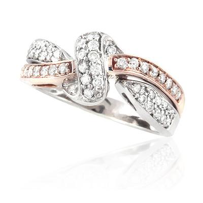 Womens 14K Two-Tone Gold Designer Diamond Ring 0.75ct