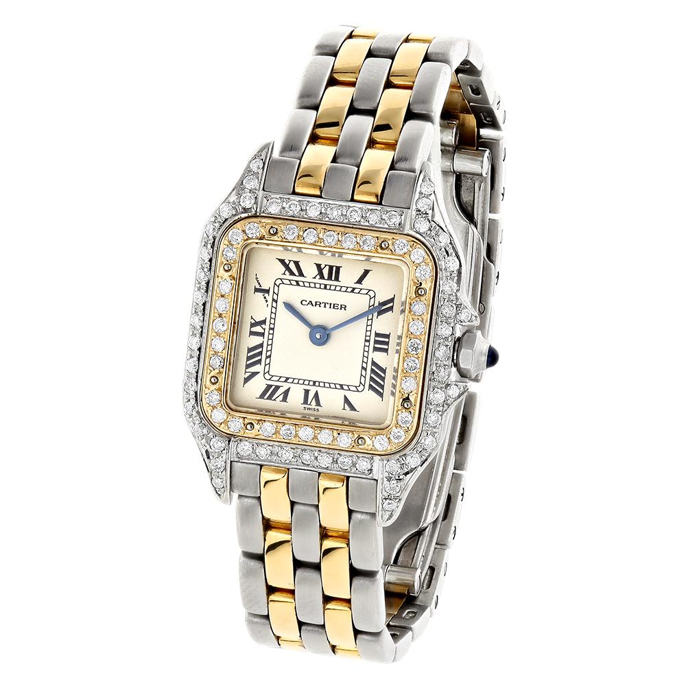 Womens Cartier Panthere Mini 18K Gold Steel Vintage Diamond Watch